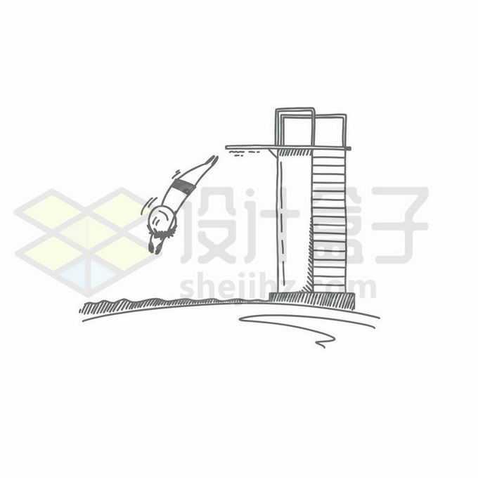 高台跳水手绘线条插画7713180矢量图片免抠素材免费下载