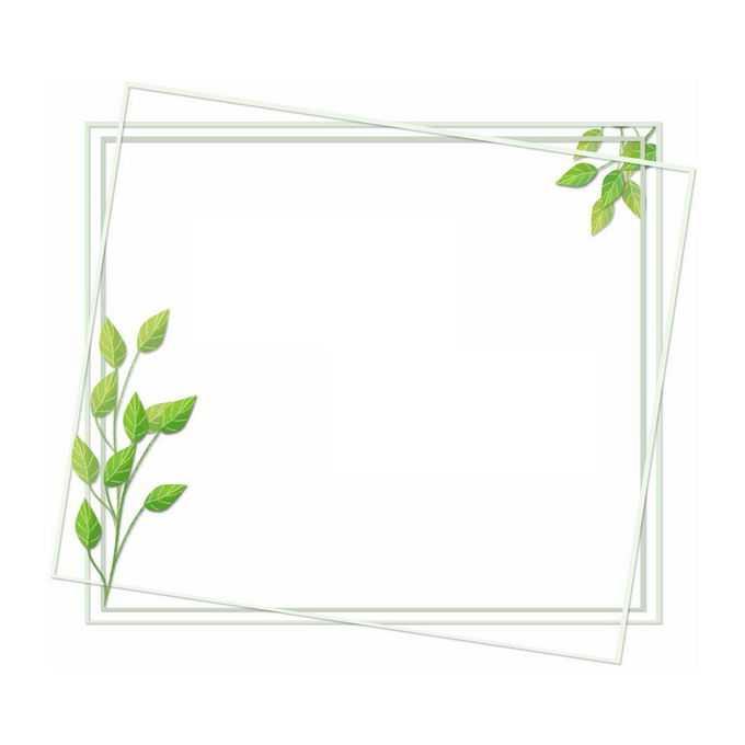 绿色的叶子和线条边框组成的文本框信息框2466683矢量图片免抠素材免费下载