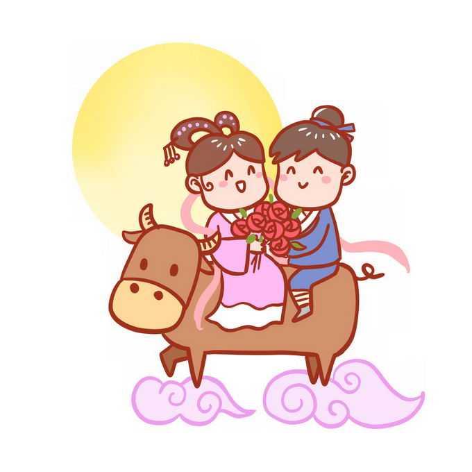 七夕情人节骑着牛的卡通牛郎织女6825806矢量图片免抠素材免费下载