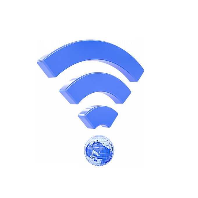 创意3D蓝色地球和wifi信号9471442矢量图片免抠素材免费下载
