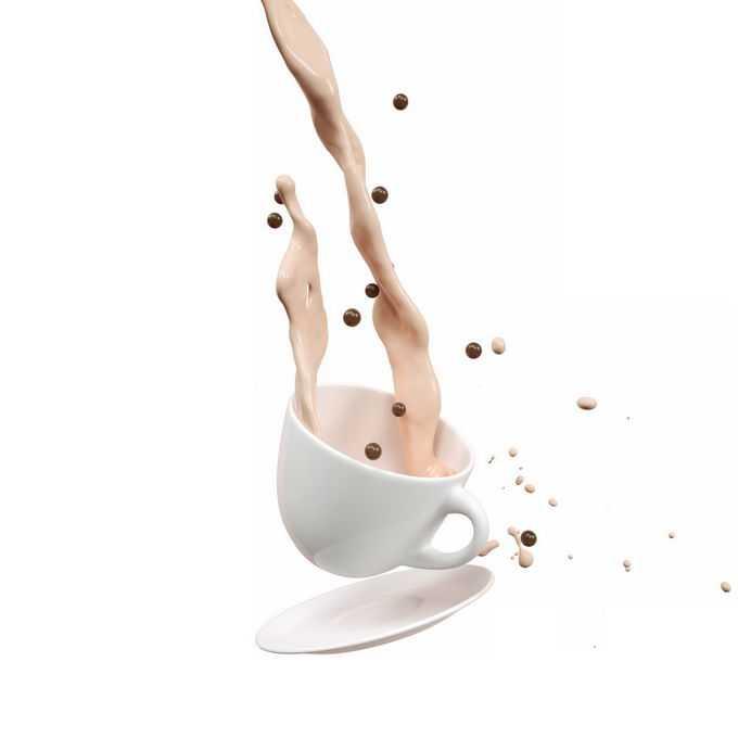 倾倒的珍珠奶茶和咖啡杯7784510矢量图片免抠素材免费下载