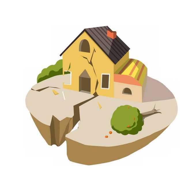 2.5D风格地震造成房子破损4991574矢量图片免抠素材免费下载