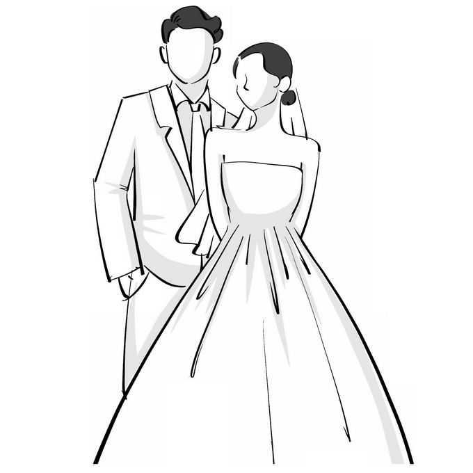 穿着婚纱的新娘和西装新郎结婚照线条插画3550287矢量图片免抠素材免费下载