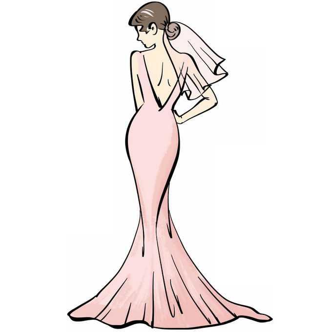 身穿粉色婚纱的新娘背影结婚婚礼插画8302858矢量图片免抠素材免费下载