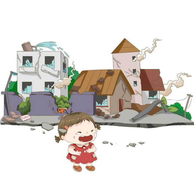 地震造成房屋倒塌哭泣的卡通小女孩手绘插画7402858矢量图片免抠素材免费下载