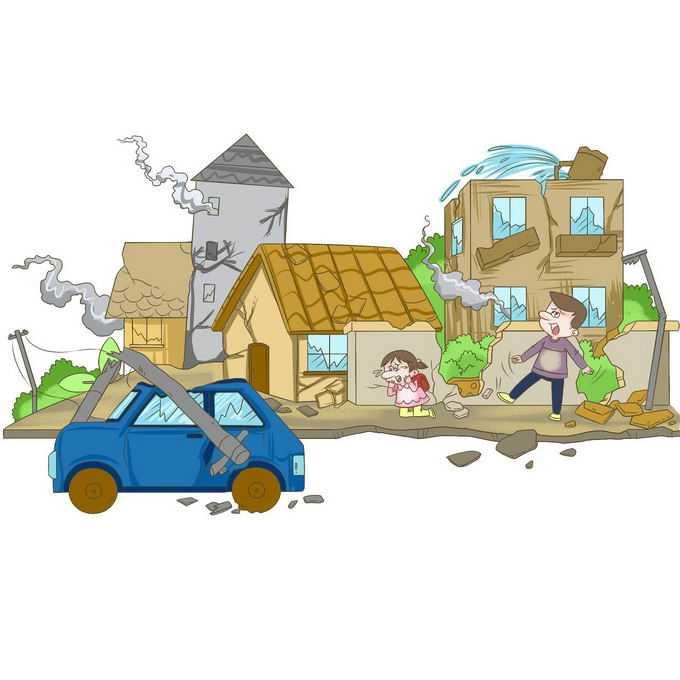 地震造成房屋倒塌汽车损毁人民财产损失手绘插画6599298矢量图片免抠素材免费下载