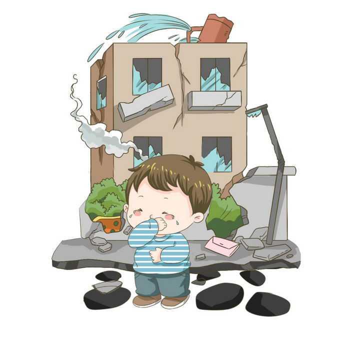地震造成房屋倒塌哭泣的卡通小男孩手绘插画4504112矢量图片免抠素材免费下载