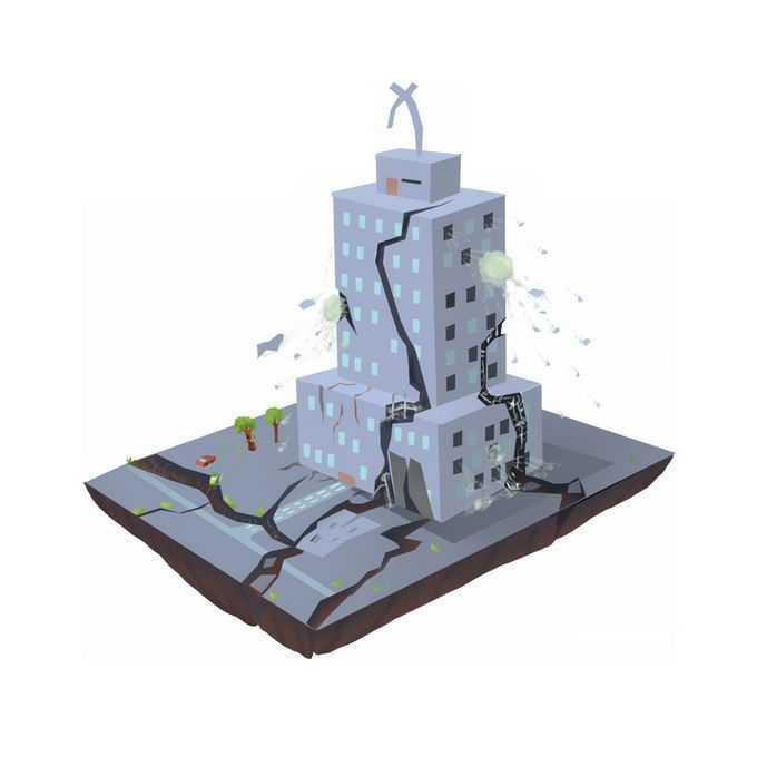地震造成大楼裂缝倒塌人民财产损失手绘插画6801054矢量图片免抠素材免费下载
