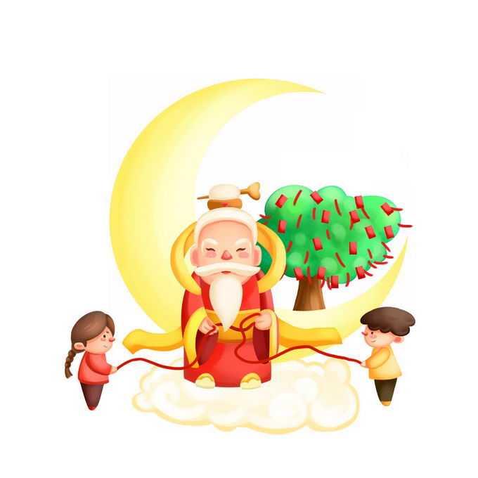 卡通月老为男孩女孩牵红线8138380矢量图片免抠素材免费下载