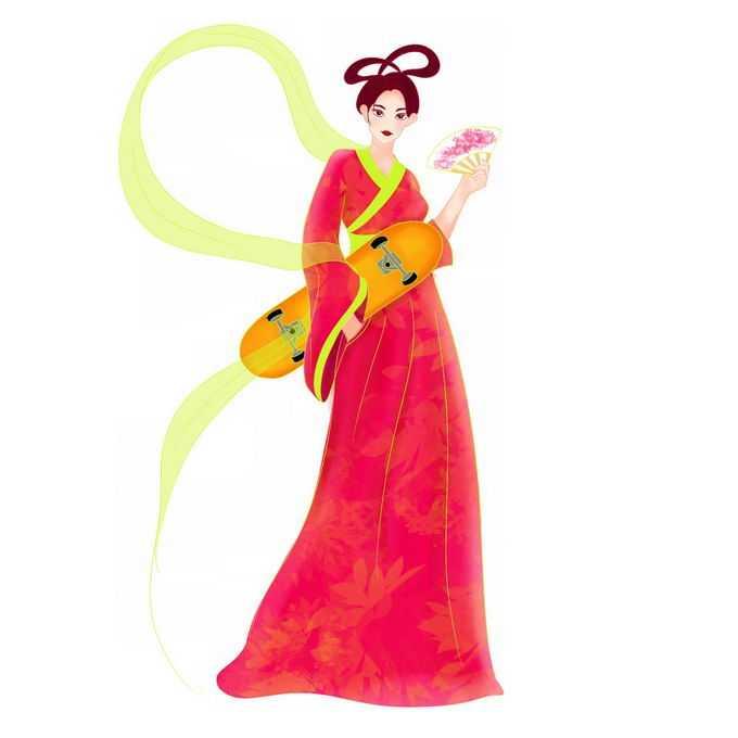 拿着滑板的卡通红衣仙女4553153矢量图片免抠素材免费下载
