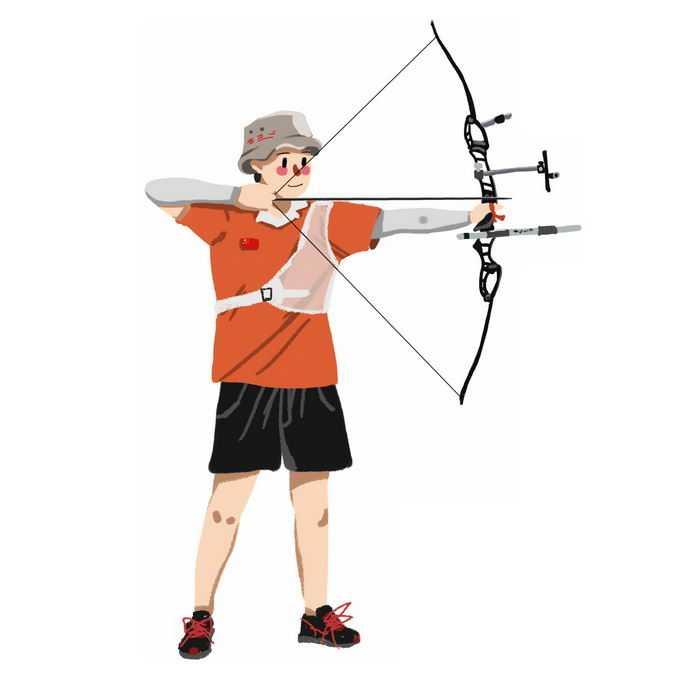 卡通射箭运动员正在瞄准射箭9316468矢量图片免抠素材免费下载