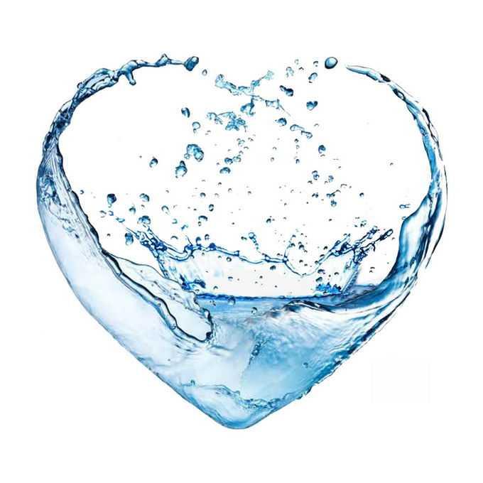 心形蓝色水花组成的液态水效果6040149矢量图片免抠素材免费下载
