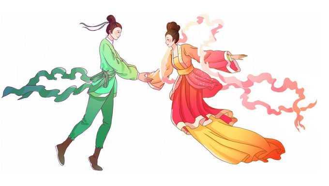 七夕节中国情人节手牵手的牛郎织女2664685矢量图片免抠素材免费下载