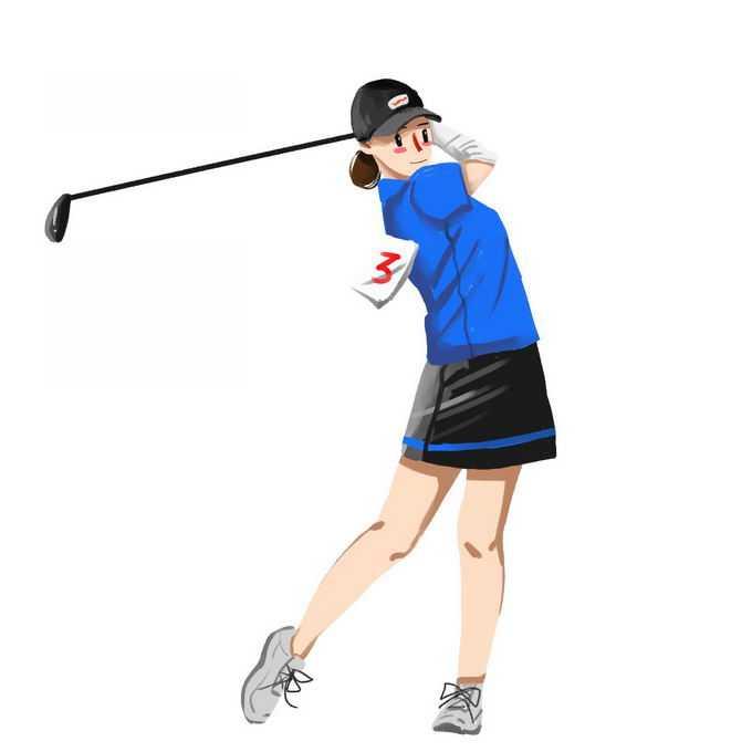 卡通女运动员打高尔夫球正在挥杆6396953矢量图片免抠素材免费下载