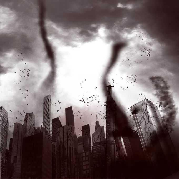 乌云密布下龙卷风肆虐造成城市建筑损坏人民财产损失插画8516997矢量图片免抠素材免费下载