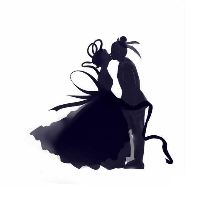 七夕情人节接吻的牛郎织女剪影插画5732678矢量图片免抠素材免费下载