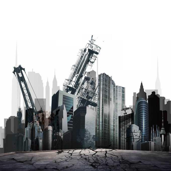 大地震过后裂开的地面倒塌的城市高楼大厦5156997矢量图片免抠素材免费下载