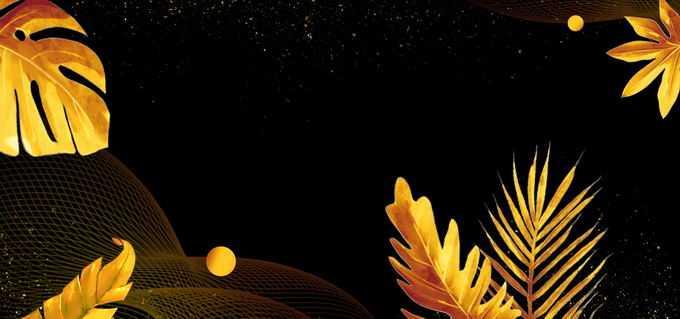 金色大树叶黑色背景图2326305矢量图片免抠素材免费下载