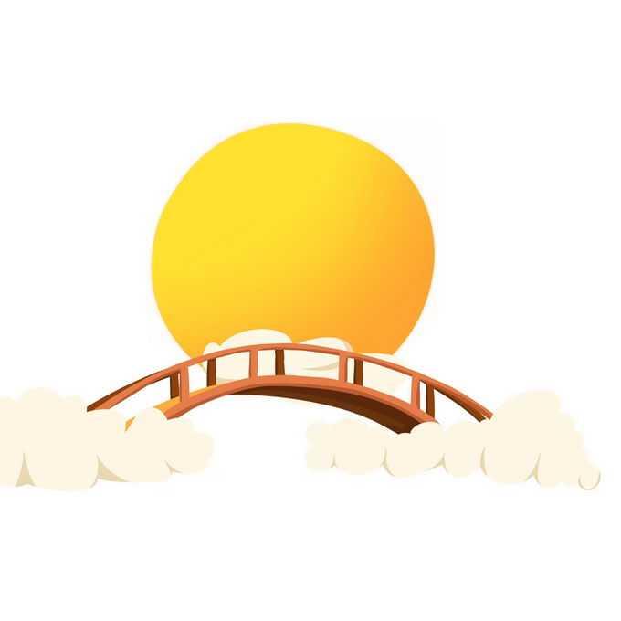 中秋节大大的黄色月亮和仙桥9631827矢量图片免抠素材免费下载