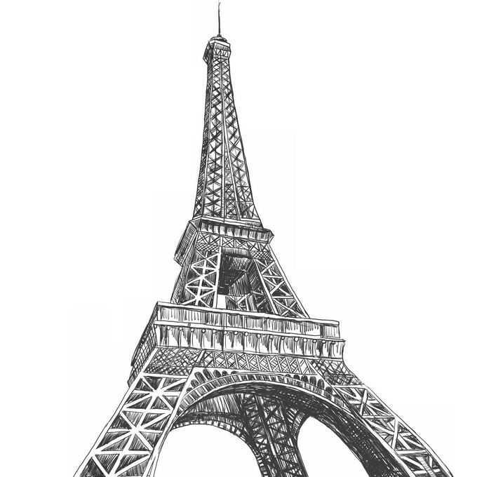 仰望巴黎埃菲尔铁塔黑白插画2564944矢量图片免抠素材免费下载