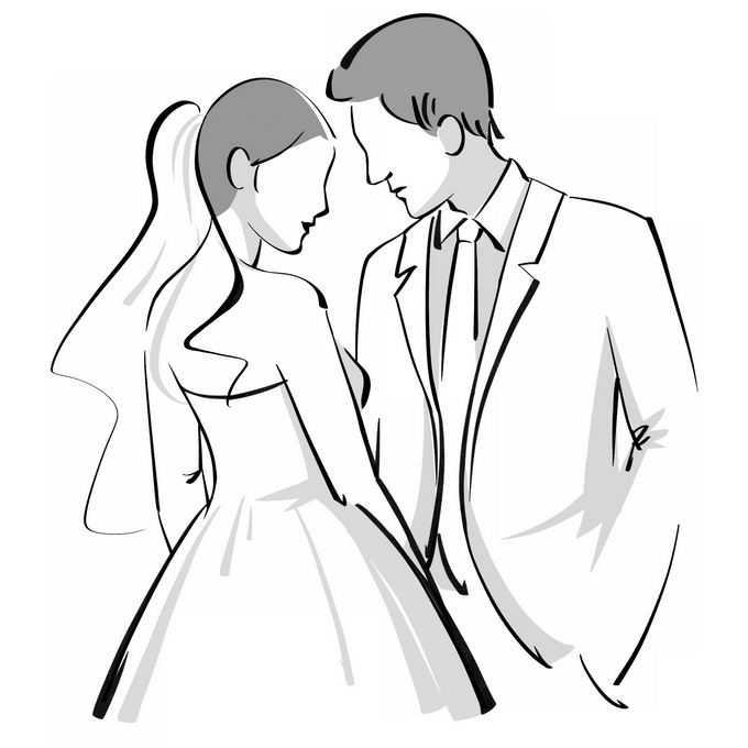 新娘和新郎面对面黑白色手绘插画2294237矢量图片免抠素材免费下载