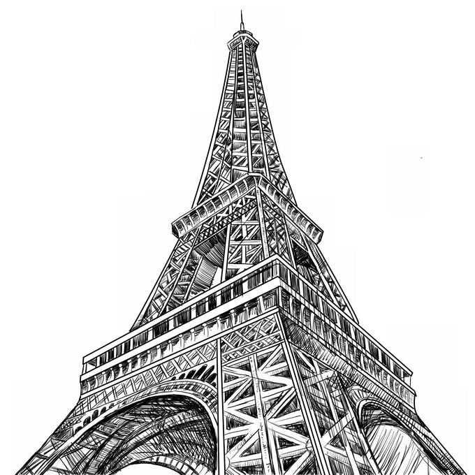 仰望巴黎埃菲尔铁塔黑白插画8570765矢量图片免抠素材免费下载