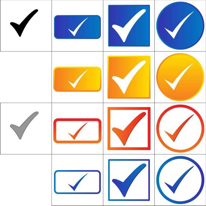 各种对号按钮5397043矢量图片免抠素材免费下载