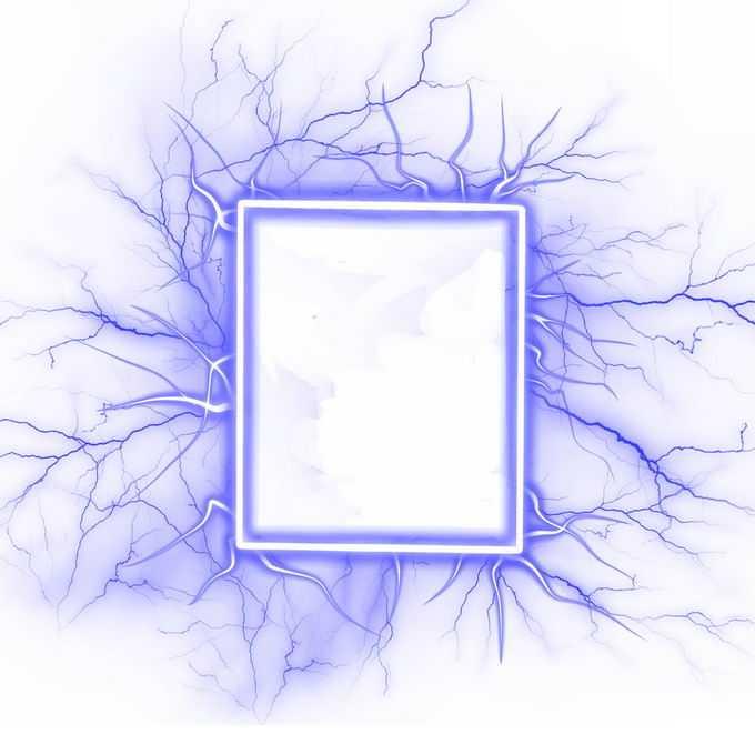 抽象蓝色闪电围绕的长方形边框6756689矢量图片免抠素材免费下载