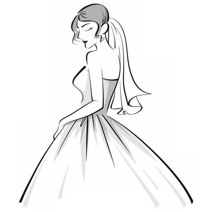身穿婚纱的新娘手绘线条插画9477707矢量图片免抠素材免费下载