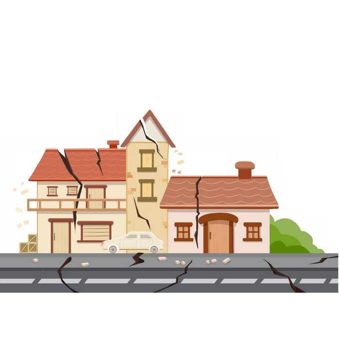 地震造成道路裂开房子倒塌人民财产损失6727620矢量图片免抠素材免费下载