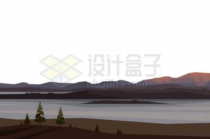 远处的大山和湖泊卡通风景6247042矢量图片免抠素材免费下载