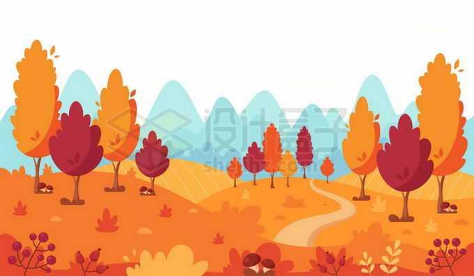 秋天远处的青山和近处变黄的大树和田野卡通风景2965119矢量图片免抠素材免费下载