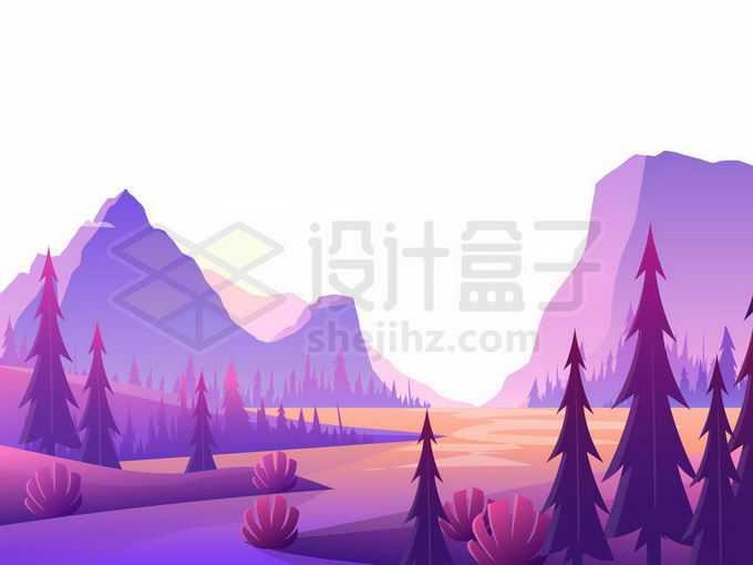 远处紫色的大山和悬崖以及近处的湖泊和森林卡通风景1341514矢量图片免抠素材免费下载