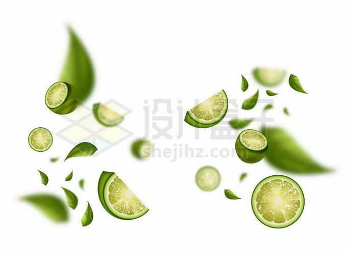 切开的青柠檬和树叶漂浮在半空中1595324矢量图片免抠素材免费下载