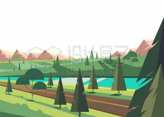 远处的大山近处的森林和湖泊卡通风景7071746矢量图片免抠素材免费下载