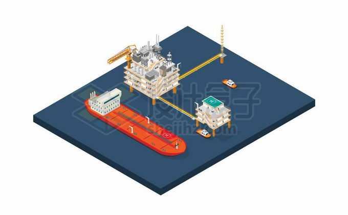 2.5D风格海上钻井平台石油开采平台和一艘油轮等待运输石油2105945矢量图片免抠素材免费下载