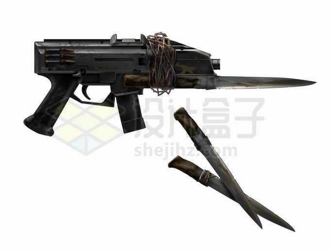 破旧风格的冲锋枪上绑着一把刺刀8773315矢量图片免抠素材免费下载