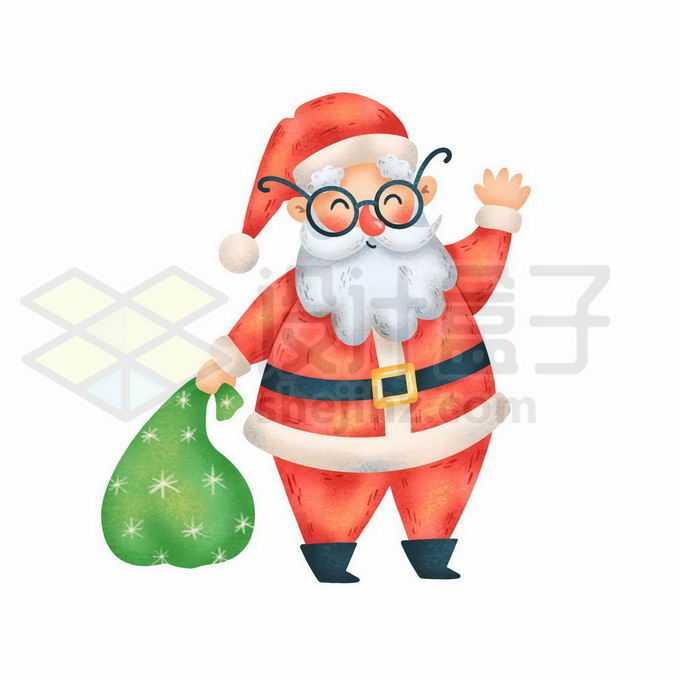 拎着礼物袋打招呼的卡通圣诞老人3632378矢量图片免抠素材免费下载