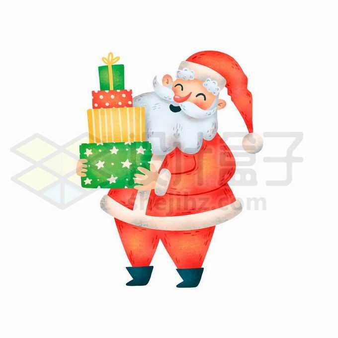 捧着一大堆礼物的卡通圣诞老人3168423矢量图片免抠素材免费下载