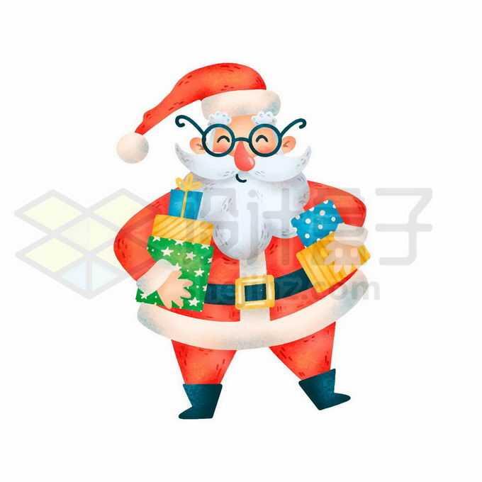 抱着礼物的卡通圣诞老人6989207矢量图片免抠素材免费下载