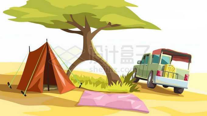 卡通大树下的帐篷和越野车野外露营6279540矢量图片免抠素材免费下载
