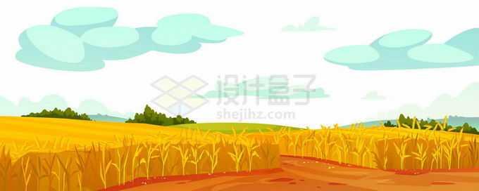 秋天丰收的田野和庄稼以及远处的青山风景3591812矢量图片免抠素材免费下载
