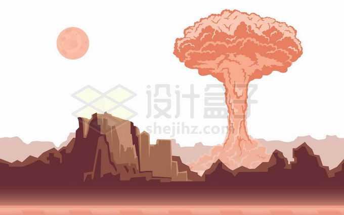 核武器原子弹氢弹爆炸产生的蘑菇云以及近处变成一片废墟的城市世界末日景象8461952矢量图片免抠素材免费下载