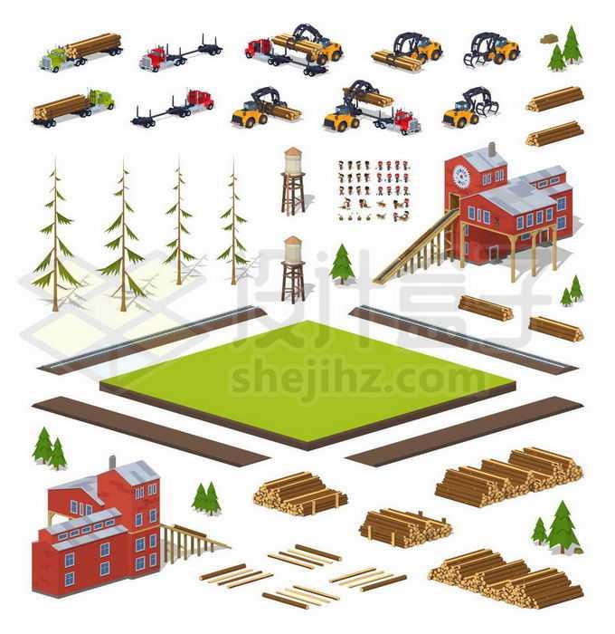 2.5D风格木材砍伐运输加工行业木材加工厂1599415矢量图片免抠素材免费下载