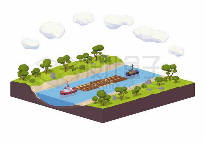 2.5D风格河流河道中的木材水运浮木拖船内河运输业1821627矢量图片免抠素材免费下载
