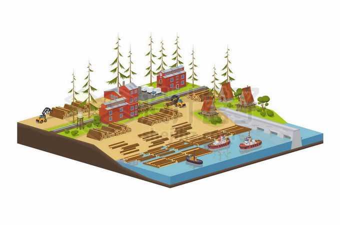 2.5D风格砍伐森林和木材水运浮木拖船内河运输业2733806矢量图片免抠素材免费下载