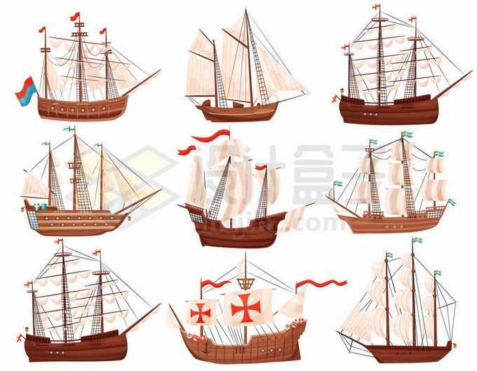 9款不同造型的复古风帆战舰战列舰武装舰船2538694矢量图片免抠素材免费下载