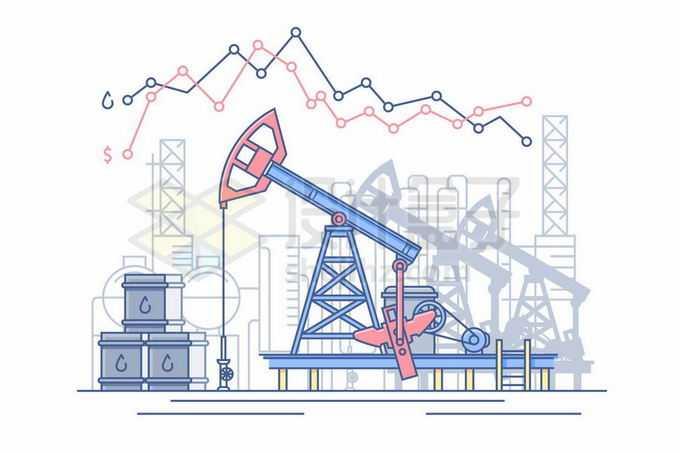 MBE风格石油开采工业的磕头机和油桶9731448矢量图片免抠素材免费下载