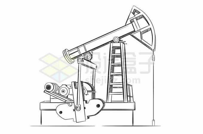 石油开采工业的磕头机手绘插画3835214矢量图片免抠素材免费下载