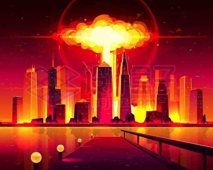 核武器在城市中爆炸将世界照亮漫画插画5647391矢量图片免抠素材免费下载
